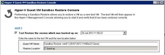 Sandbox Restore stellt gesicherte VMs in einem temporären Verzeichnis wieder her und startet sie dort.