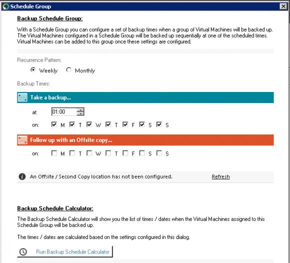 Zeitprofile lassen sich in Gruppen (Schedule Groups) zusammenfassen, in die man VMs aufnehmen kann.
