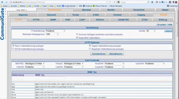 Die Admin-GUI von CommuniGate Pro ist schlicht, wirkt in Zeiten dynamischer Web-Oberflächen jedoch auch angestaubt.