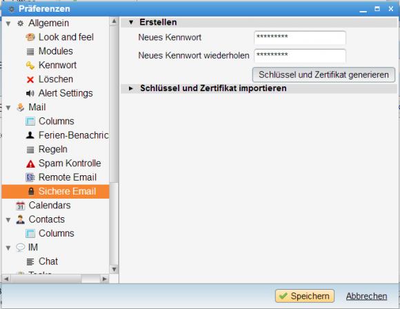 Anwender können in CommuniGate Pro selbst ein Zertifikat generieren.