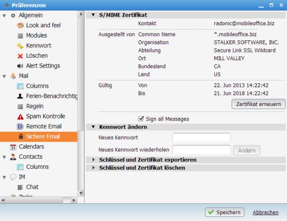 CommuniGate Pro verwaltet S/MIME Zertifikate für die Anwender.
