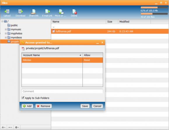 Anderen Anwendern kann Zugriff auf ausgewählte Dateien gegeben werden.