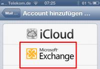 Mail-Konto für die Synchronisierung mit ActiveSync hinzufügen.