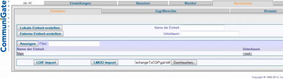 Der Export der Exchange-Adressdaten erfolgt in eine LDIF-Datei, die separat in CG Pro importiert werden muss.