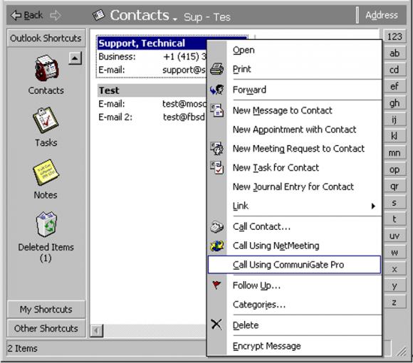 Der MAPI Connector erlaubt es, aus den Outlook-Kontakten einen VoIP-Anruf oder einen Chat zu starten.