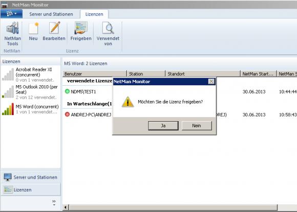 Der NDM-Admin hat einen Überblick über alle belegten Lizenzen und kann diese auch freigeben.