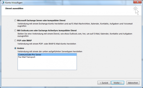 Der MAPI Connector verbindet Outlook mit einem CommuniGate-Pro-Server.
