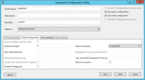 Das baramundi Configuration Utility offenbart die eingeschränkten Konfigurationsmöglichkeiten für Windows Phone.