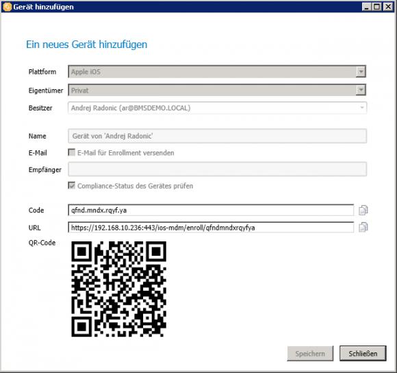 Ein neues Mobilgerät kann mit wenigen Handgriffen im baramundi-System angemeldet werden.