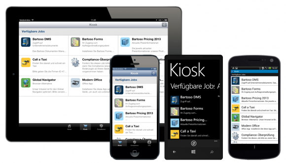Die Kiosk-Funktion ermöglicht geräteübergreifend den Anwendern einen Überblick über Gerätestatus und verfügbare Apps.