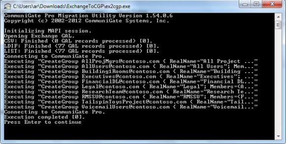 ex2cgp.exe protokolliert den Verlauf der Migration und das zeigt das Ergebnis an.