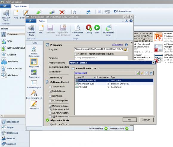 Jeder Anwendung kann in NDM eine Lizenzregel zugewiesen werden.