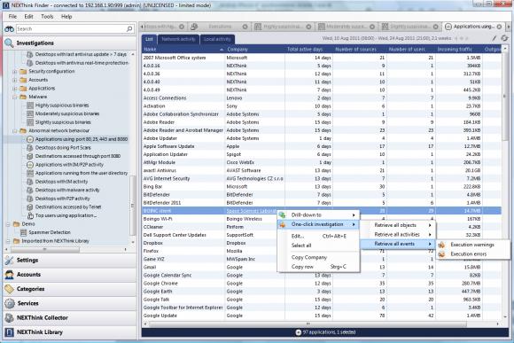 Anwendungsbeispiel: Ad-hoc-Analyse von Desktops mit auffälliger Netzwerkaktivität.