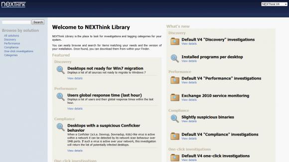 """Die NEXThink-Library enthält eine Reihe vordefinierter Analysen (""""Investigations"""")."""