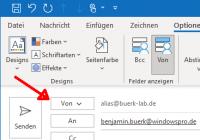 Senden von Mail-Alias in Outlook