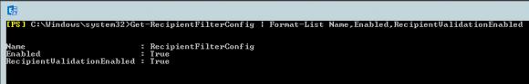 Der erneute Aufruf von Get-RecipientFilterConfig zeigt, dass die Empfängerfilterung nun aktiviert ist.