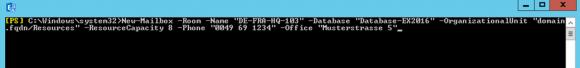 Eigenschaften eines Raums gleich beim Anlegen mit New-MailBox spezifizieren.