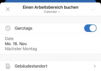 Workplace buchen in der Outlook mobile App