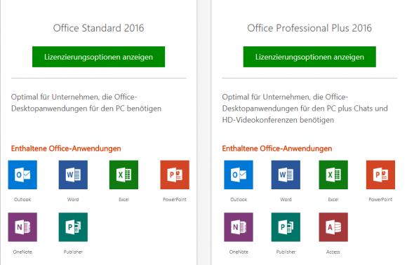 Geeignete Editionen von Office 2016 für Session Hosts und die darin enthaltenen Anwendungen.