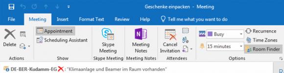 Ergänzende Informationen zu einem Raum als MailTip in Outlook
