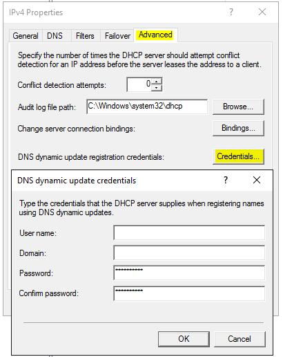 Anmeldedaten eines berechtigten Benutzer für dynmische DNS-Updates eingeben