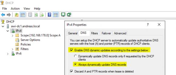 Dynamische DNS-Updates aktivieren