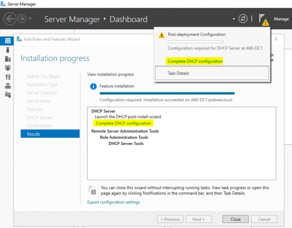 DHCP-Server über den Wizard im Server Manager konfigurieren