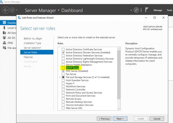 Hinzufügen der DHCP-Server-Rolle über den Server Manager