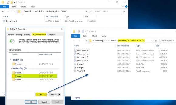 Wiederherstellen älterer Dateiversionen aus Schattenkopien