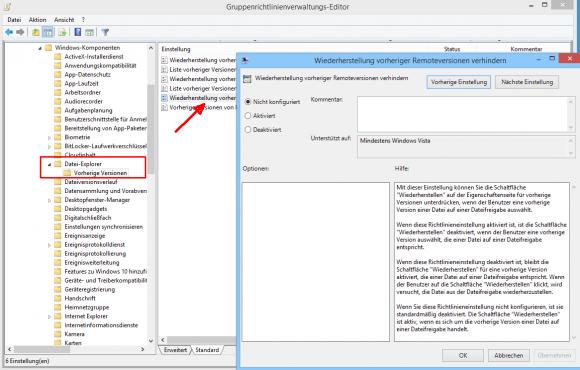 Die Richtlinie zum Ausblenden des Buttons zur Wiederherstellung findet sich in der Computer- und Benutzerkonfiguration.