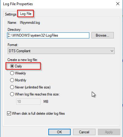 Accounting so konfigurieren, dass täglich eine neue Log-Datei angelegt wird.