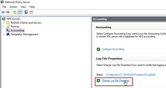 Eigenschaften für die Log-Dateien bearbeiten