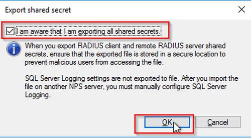 Der Export der Secrets muss extra bestätigt werden