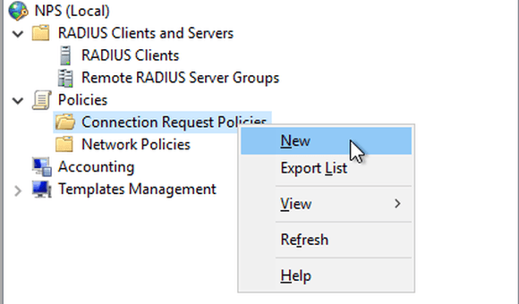 Neue Connection Request Policy für NPS erstellen