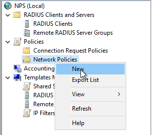 Neue Network Policy für NPS anlegen