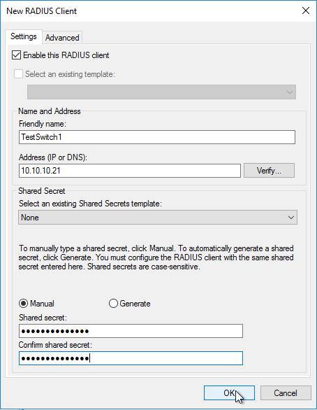 Eingabe von Name, IP-Adresse und Passwort für den RADIUS-Client