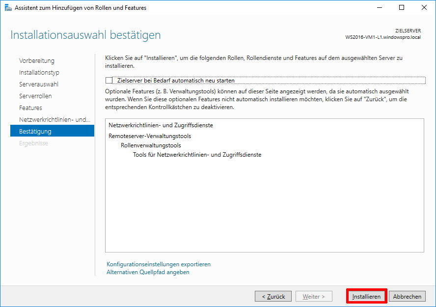 Radius-Server mit NPS in Windows Server 2016 installieren