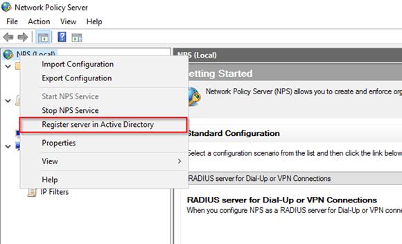 NPS-Server im Active Directory registrieren