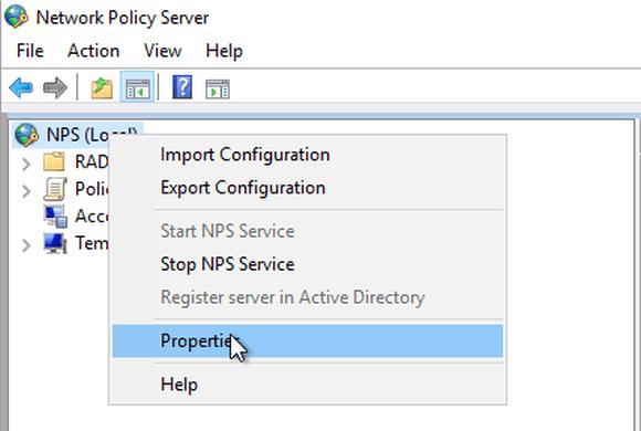 Eigenschaften-Dialog des NPS-Server öffnen