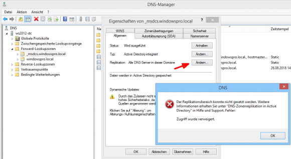 Bei geschützten DNS-Zonen lässt sich der Replikationsbereich nicht ändern.