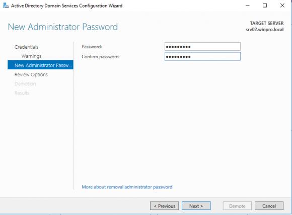 Neues Admin-Passwort eingeben