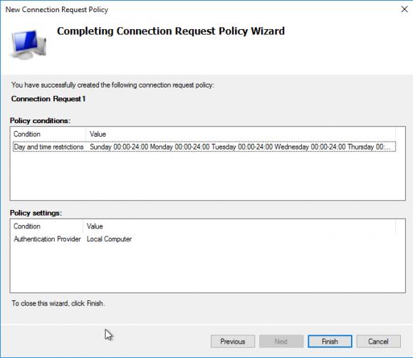 Erzeugung der Connection Request Policy abschließen