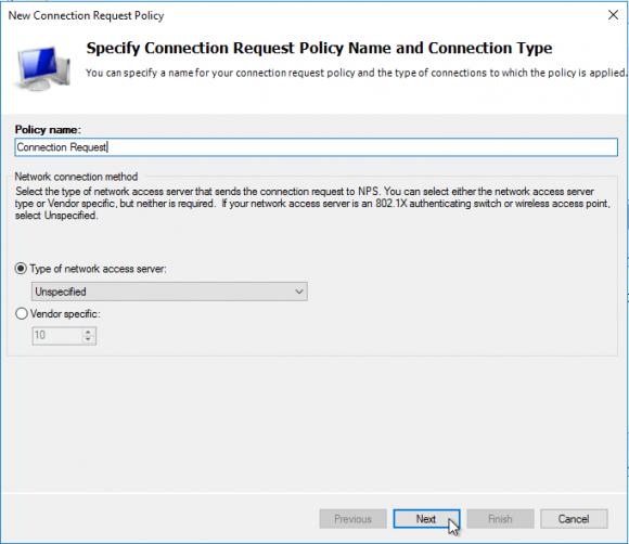 Name für die Connection Request Policy eingeben