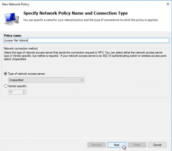 Name für die Network Policy eingeben