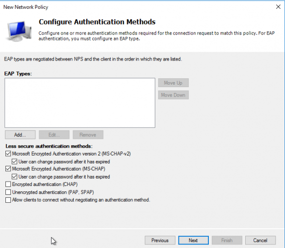Authentifizierungsmethoden für die Network Policy wählen