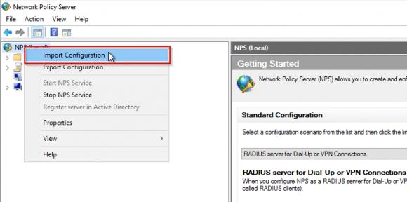 Import der exportierten RADIUS-Konfiguration auf dem Ziel-Server