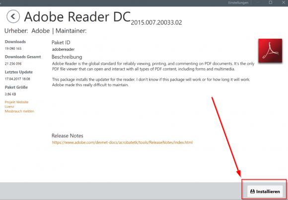 Adobe Reader über die Chocolatey-GUI installieren