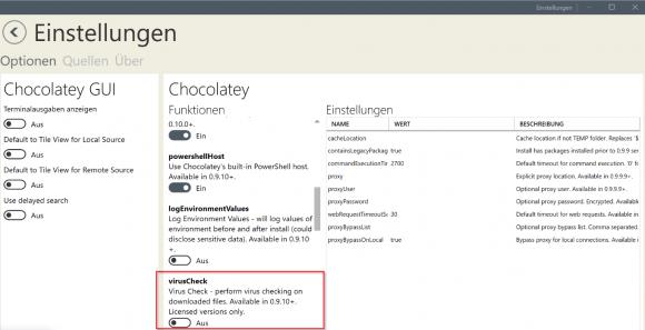 Einige der Einstellungen in der Chocolatey-GUI bleiben der bezahlten Version vorbehalten.