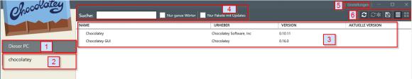 Aufgabenbereiche der Chocolatey-GUI