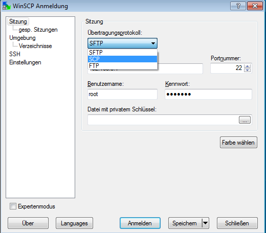 Auswahl des Protokolls bei der Anmeldung in WinSCP.